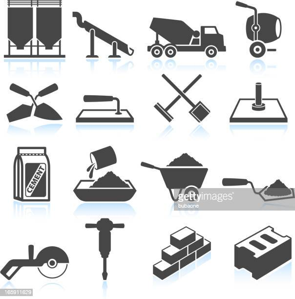 cement industry black & white royalty free vector icon set - stone stock illustrations, clip art, cartoons, & icons