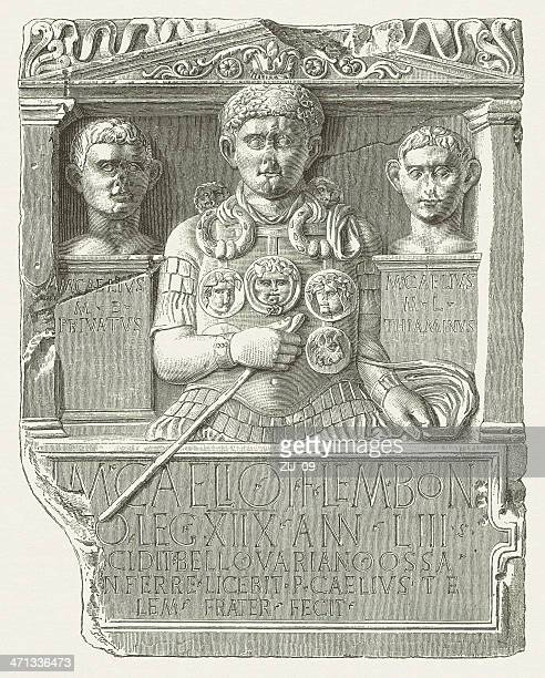 cenotaph of marcus caelius (lvr-landesmuseum, bonn), wood engraving, published 1880 - bas relief stock illustrations