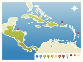 Central America and Caribbean GPS Icon Map