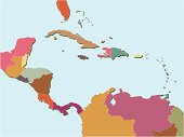 Central America and Caribbean map.