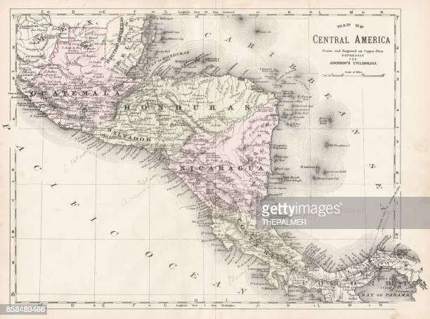 central america map 1893 - guatemala stock illustrations, clip art, cartoons, & icons