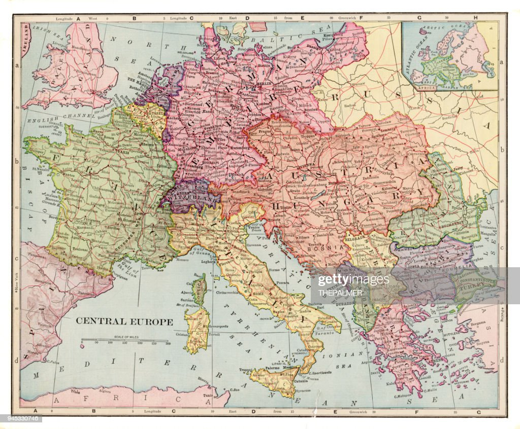 Central Europe Map 1892 Stock Illustration | Getty Images