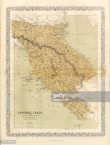 central italy victorian map, circa 1865 - tuscany stock illustrations, clip art, cartoons, & icons