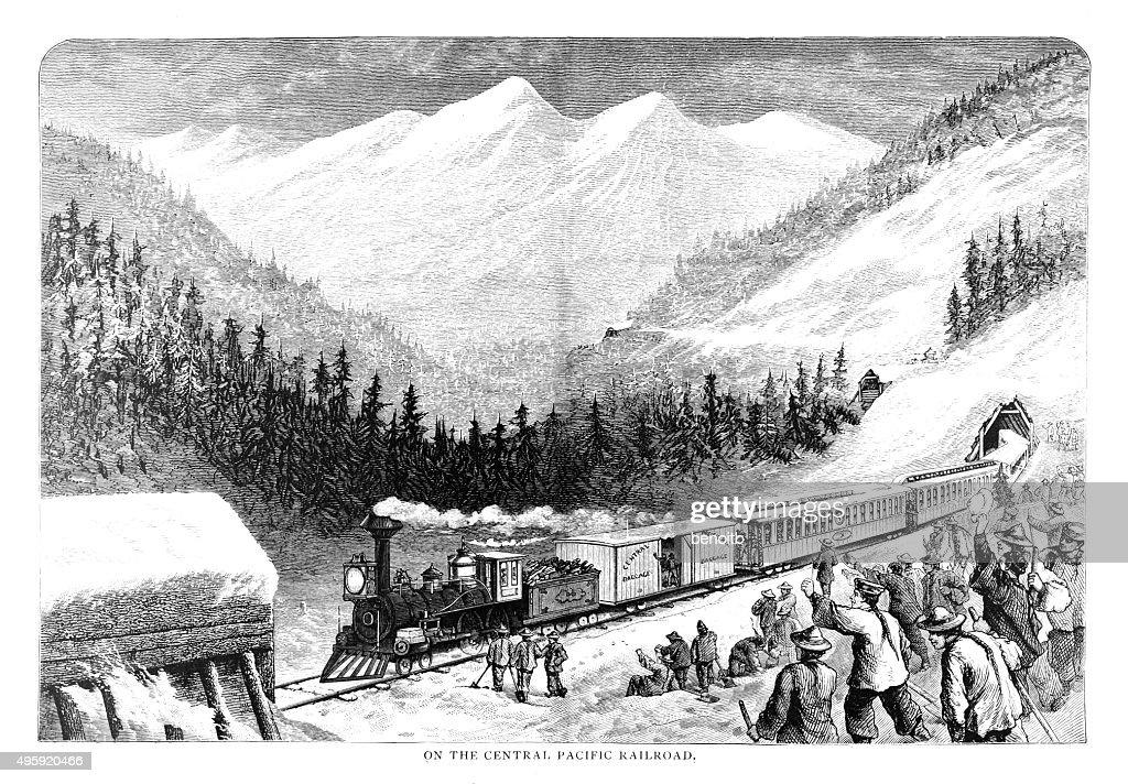 Central Pacific Railroad : stock illustration