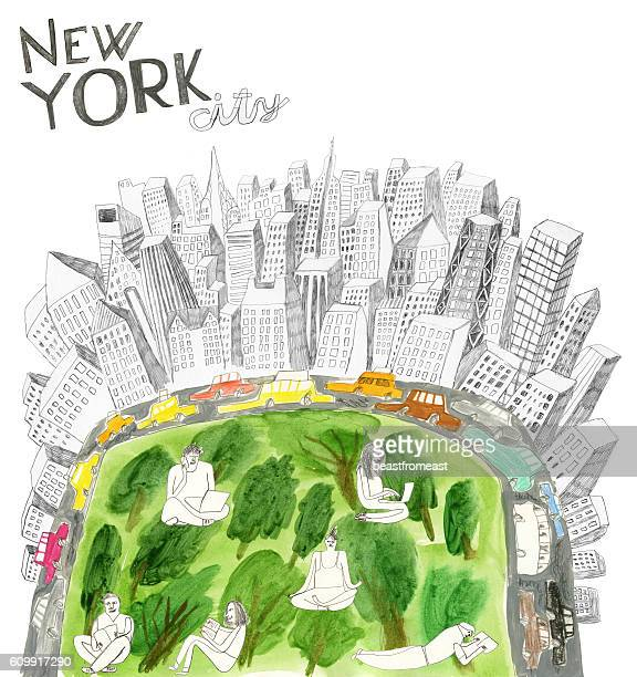 Central Park and New York city collage