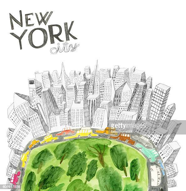 central park and new york city collage - chrysler building stock illustrations, clip art, cartoons, & icons