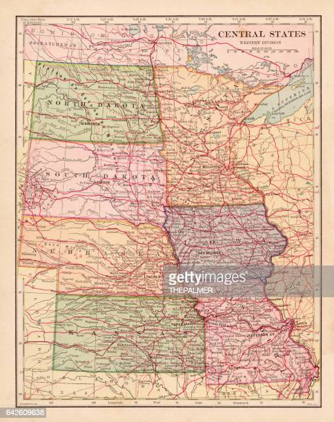 central states map 1898 - south dakota stock illustrations, clip art, cartoons, & icons