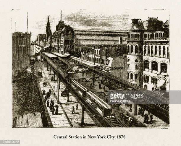 Central Station in New York City Victorian Engraving, 1878