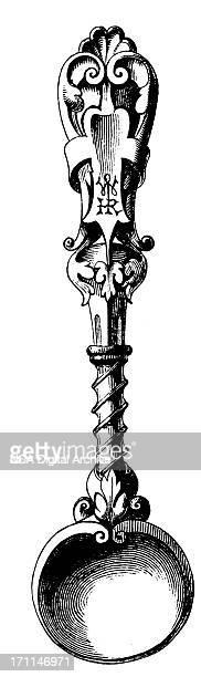 19 世紀のアンティークの設計イラスト小さじ i - ティースプーン点のイラスト素材/クリップアート素材/マンガ素材/アイコン素材