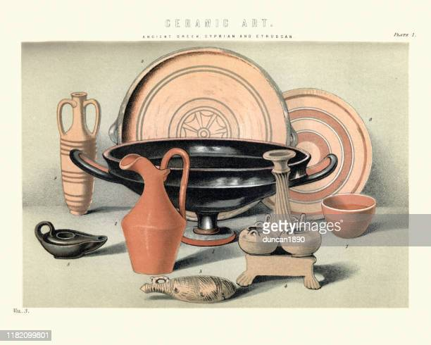 ceramic art, ancient greek, cyprian and etruscan - etruscan stock illustrations