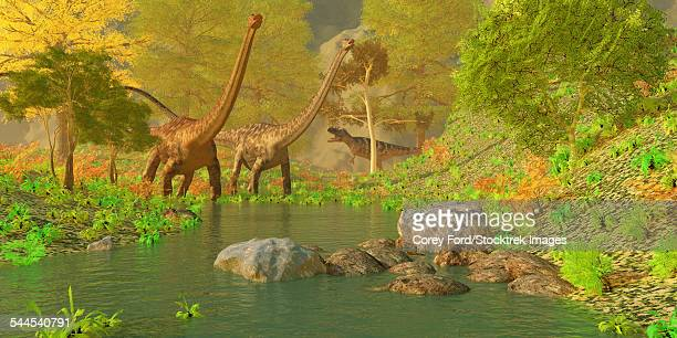 A Ceratosaurus tries to sneak up behind two Diplodocus dinosaurs.