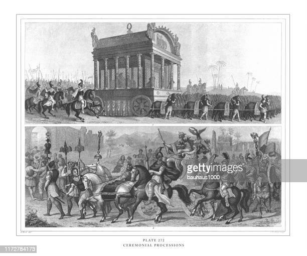 ceremonial processions engraving antique illustration, published 1851 - parade stock illustrations