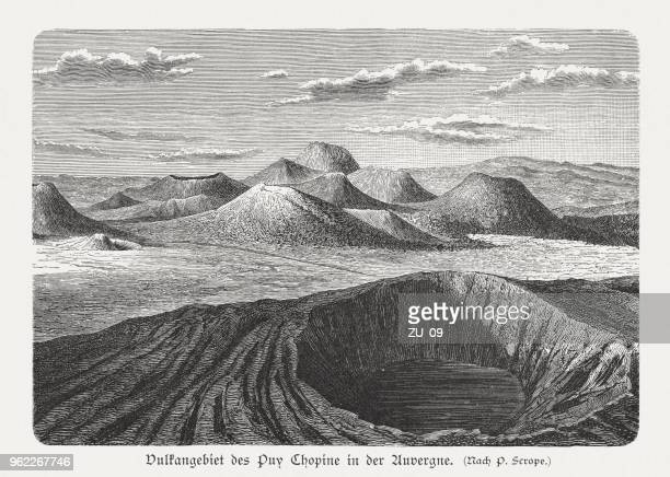 chaîne des puys, auvergne, france, wood engraving, published in 1897 - volcanic crater stock illustrations, clip art, cartoons, & icons