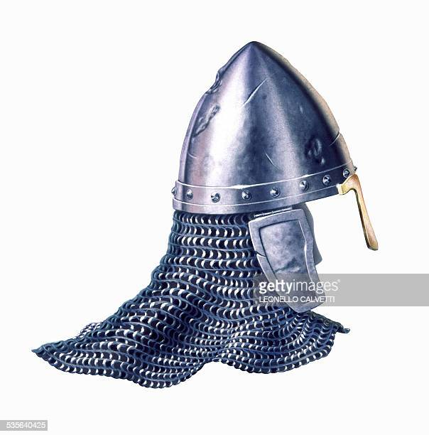 chain mail and helmet, artwork - traditional armor stock illustrations