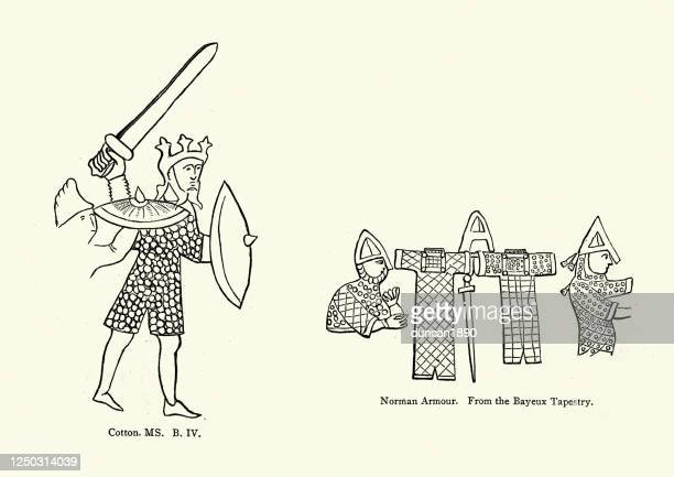 chain mail armour of the 11th century, anglo saxon king - normandy stock illustrations