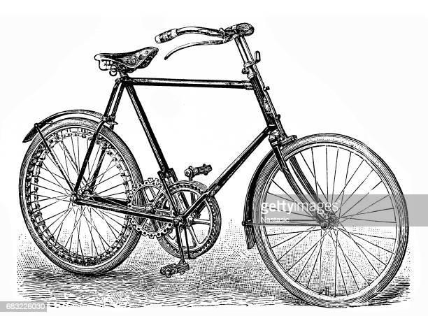 ilustraciones, imágenes clip art, dibujos animados e iconos de stock de bicicleta de cadena menos con engranajes rectos - monoimpresión