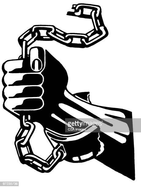 chains - prison escape stock illustrations