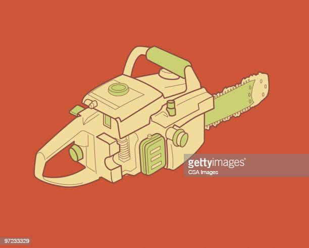 chainsaw - power tool stock illustrations, clip art, cartoons, & icons