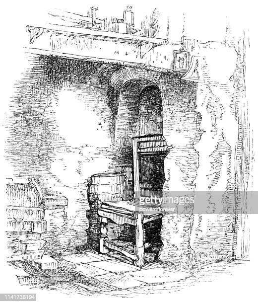 ilustrações de stock, clip art, desenhos animados e ícones de chair in a chimney corner - 16th century - nicho