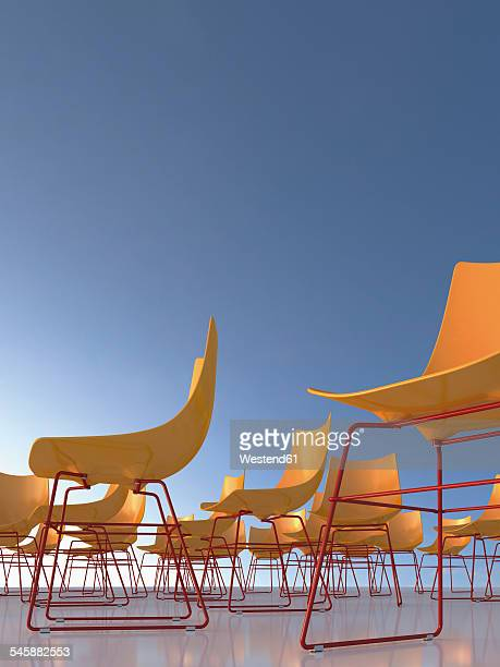 chairs in front of blue sky, 3d rendering - meeting stock illustrations