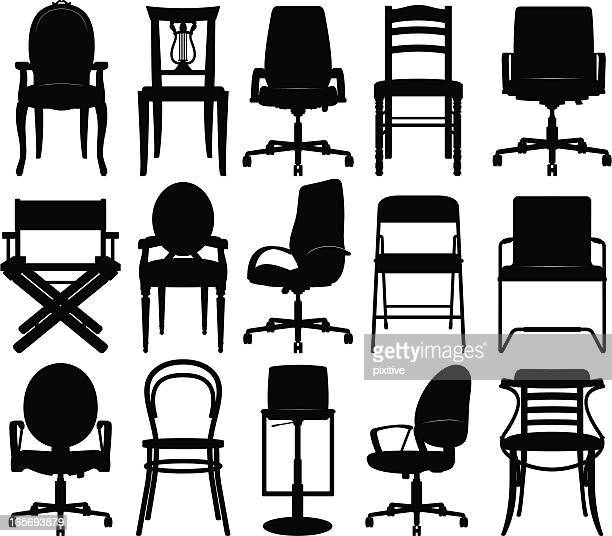 chairs silhouettes collection - chair stock illustrations