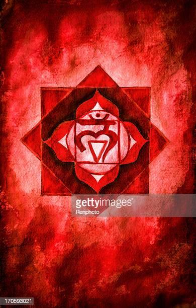 chakra one: root (muladhara) - chakra stock illustrations, clip art, cartoons, & icons