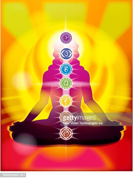 Chakra, Wheel of Life with silhouette of woman in lotus position
