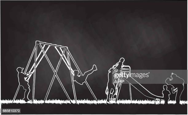 chalk background - school yard stock illustrations, clip art, cartoons, & icons