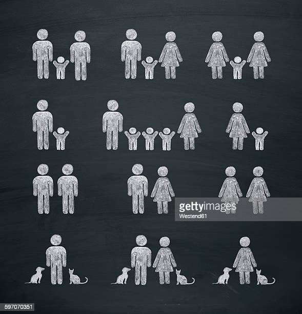 illustrations, cliparts, dessins animés et icônes de chalk drawing of various forms of families and relationships - lesbian