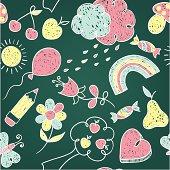 Chalk seamless children pattern