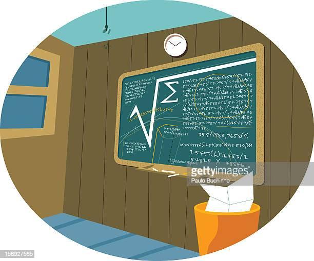 ilustrações de stock, clip art, desenhos animados e ícones de a chalkboard with a math equations on it - buchinho
