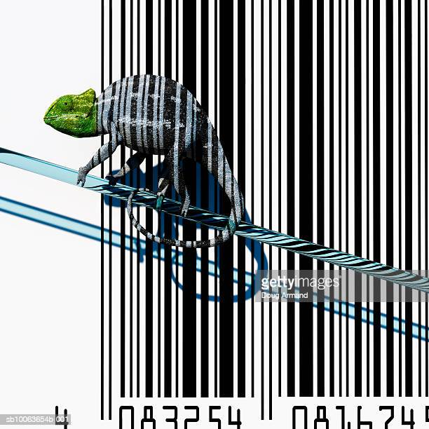 chameleon with bar code background - カメレオン点のイラスト素材/クリップアート素材/マンガ素材/アイコン素材