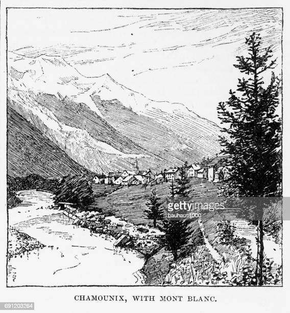 chamounix with mont blanc, engraving, 1892 - mont blanc stock illustrations, clip art, cartoons, & icons
