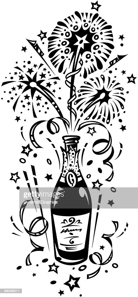 champagne bottle and fireworks color illustrator ver 3 grouped elements happy new year celebrate the