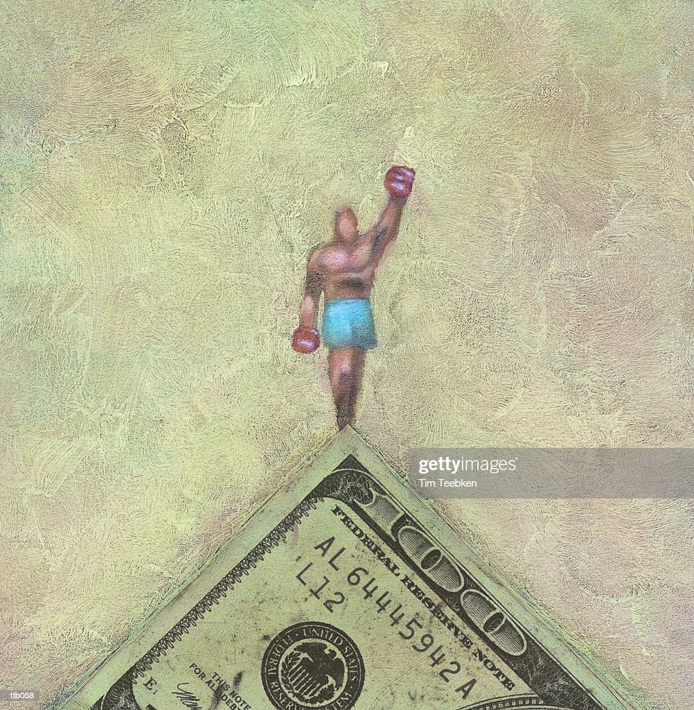 Champion Atop 100 Dollar Bill : Stock Illustration