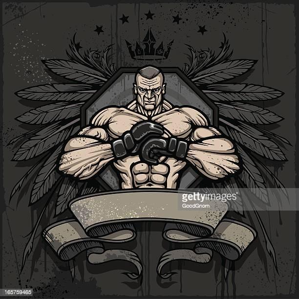 mma champion crest - mixed martial arts stock illustrations