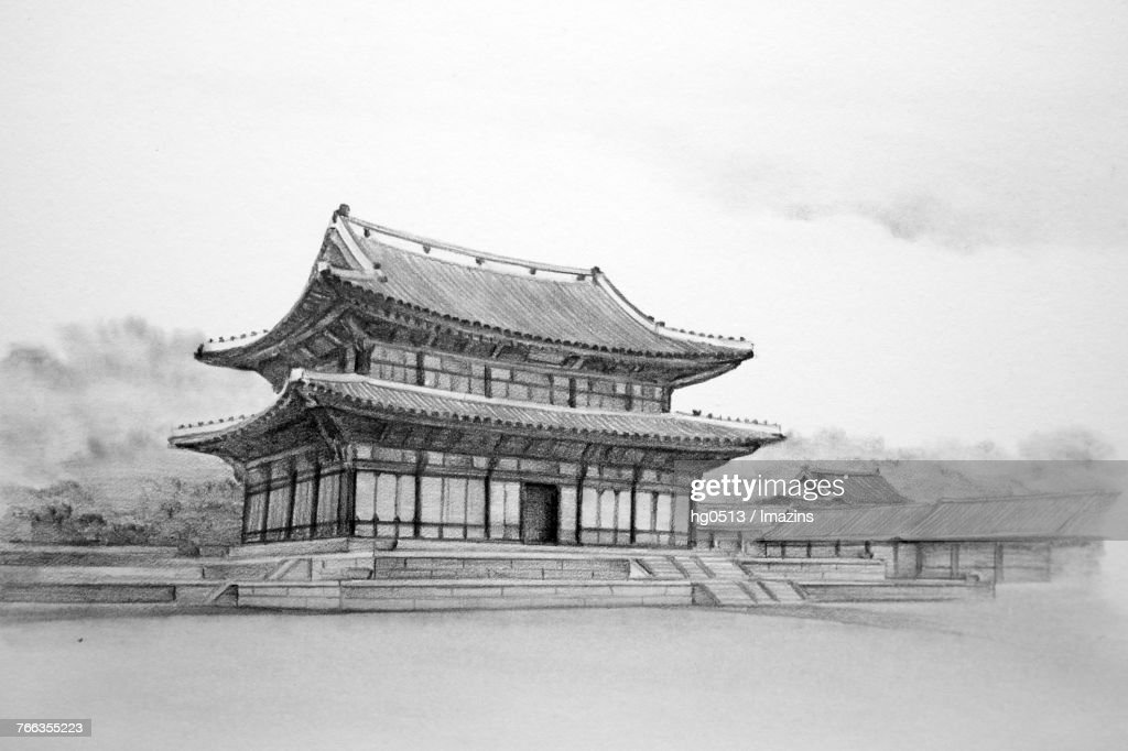 Changdeokgung Royal Palace UNESCO World Heritage Site Pencil Drawing Stock Illustration
