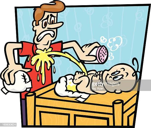 ilustraciones, imágenes clip art, dibujos animados e iconos de stock de cambiar al bebé - orina