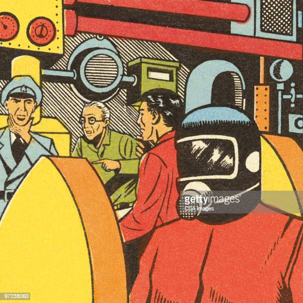 chaos at the plant - work helmet stock illustrations
