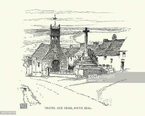 chapel and cross, south zeal,  dartmoor 19th century - chapel stock illustrations, clip art, cartoons, & icons