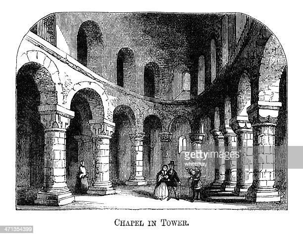 ilustrações de stock, clip art, desenhos animados e ícones de capela da torre de londres (1871 gravação - nicho
