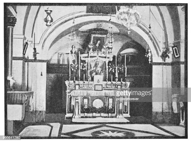 chapel inside the church of the holy sepulchre in jerusalem, israel - ottoman empire - chapel stock illustrations