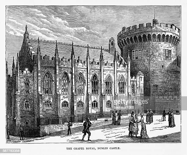 chapel royal, dublin castle, dublin, ireland victorian engraving, circa 1840 - ダブリン城点のイラスト素材/クリップアート素材/マンガ素材/アイコン素材