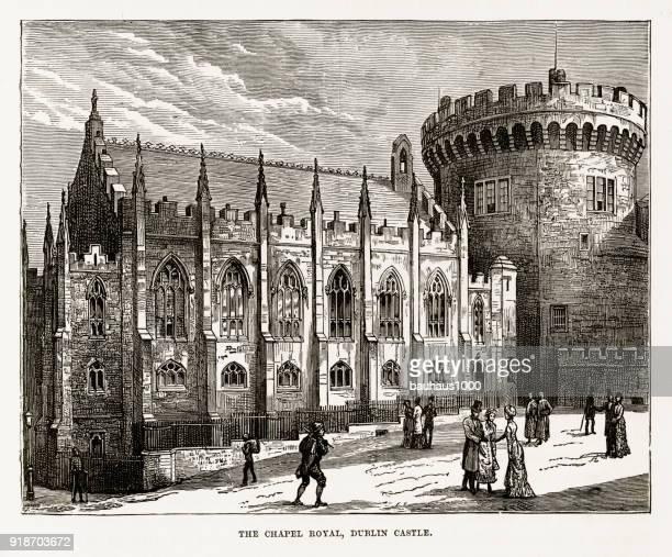 Chapel Royal, Dublin Castle, Dublin, Ireland Victorian Engraving, Circa 1840