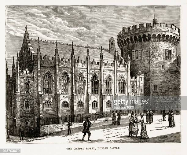 chapel royal, dublin castle, dublin, ireland victorian engraving, circa 1840 - dublin castle dublin stock illustrations