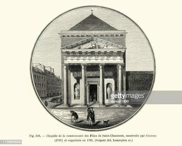 ilustrações, clipart, desenhos animados e ícones de chapelle de la communaute de filles de saint-chaumont, paris - pediment
