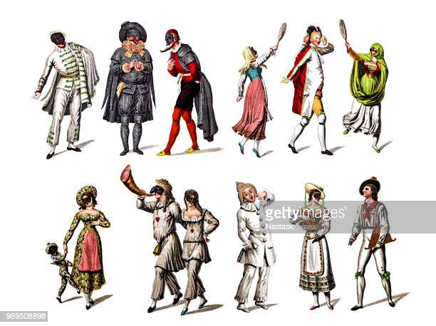 character from the commedia dell'arte play - 18th century stock illustrations