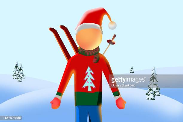 character of a young boy in christmas clothes with skiing equipment on his back. - winter sports event stock illustrations
