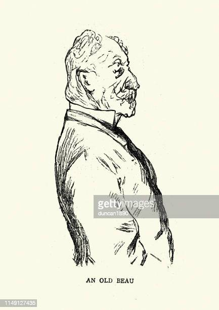 character sketch of an old beau, monte carlo, 19th century - monte carlo stock illustrations, clip art, cartoons, & icons