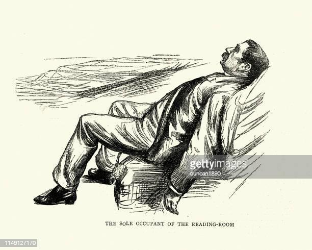 illustrations, cliparts, dessins animés et icônes de croquis de caractère de l'homme endormi dans la salle de lecture - mou